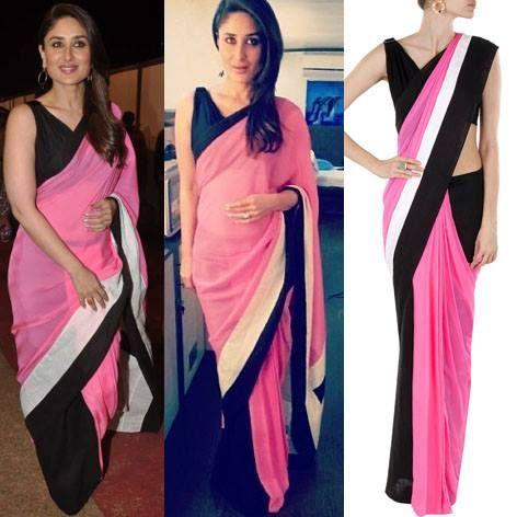 GET THIS LOOK: Kareena Kapoor looks stunning in this black and floss sari by SHIVAN AND NARRESH.  Shop the look at: http://www.perniaspopupshop.com/designers-1/shivan-narresh #designer #love #sari #celebrity #kareenakapoor #fantastic #sariwithquirk #quirky #indian #fashion