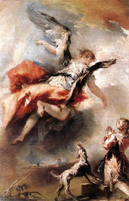 """The Angel Appears to Tobias"" by Francesco Guardi. c. 1750. Art Experience NYC www.artexperiencenyc.com/social_login/?utm_source=pinterest_medium=pins_content=pinterest_pins_campaign=pinterest_initial"