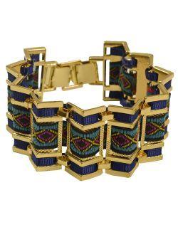 Bratara metalica cu insertie textila bleu New spring summer collection bracelet