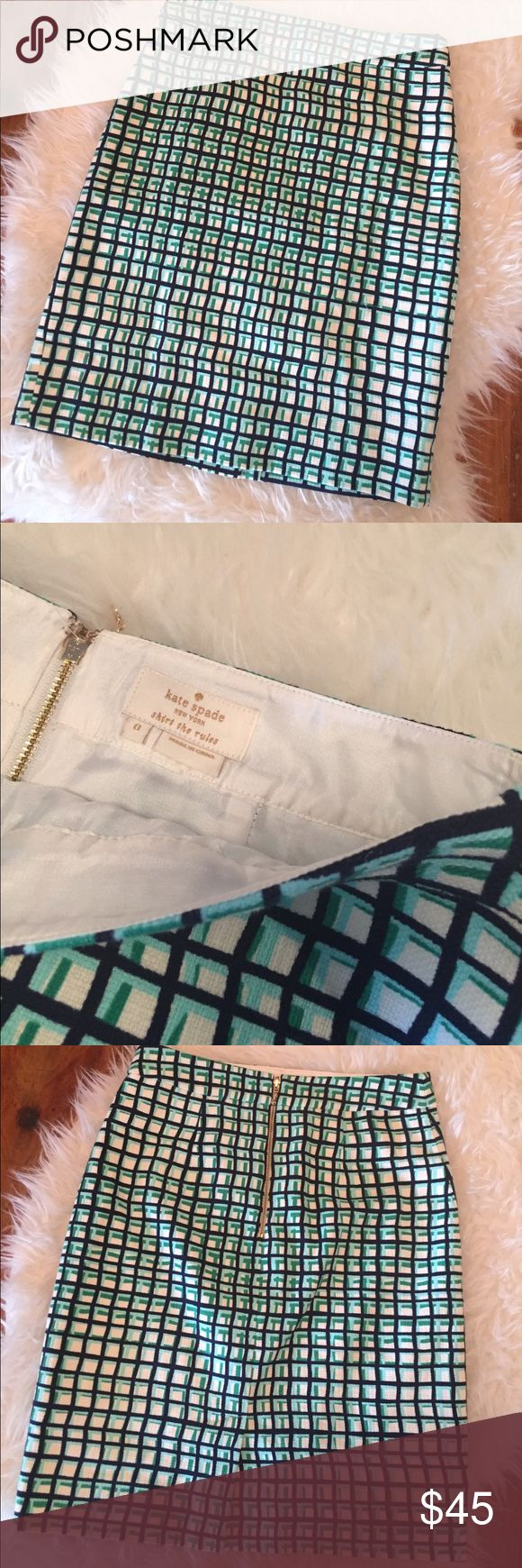 Kate Spade Pencil Skirt Like new Kate Spade pencil skirt.  Navy, teal, and green grid print with cream background.  95% cotton, 5% elastane.  Gold zipper, fully lined.  No flaws! kate spade Skirts Pencil