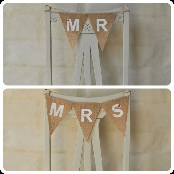 MR & MRS Hessian Burlap Wedding  Bunting Decoration for chairs