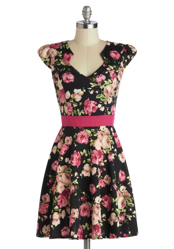 The Story of Citrus Dress in Noir Blossom. It was as if the fates knew you'd been looking for that perfect frock to add some serious style to your day-to-day wardrobe. #modcloth