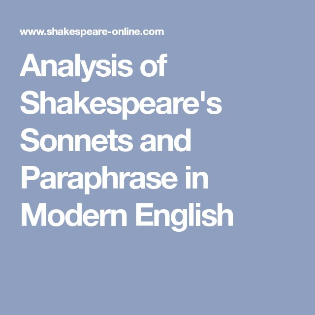 Analysi Of Shakespeare S Sonnet And Paraphrase In Modern English 93