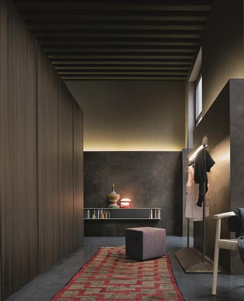 POLIFORM: Senzafine Stratus wardrobe, Play pouf, Tokyo chair and Skip wall mounted shelves