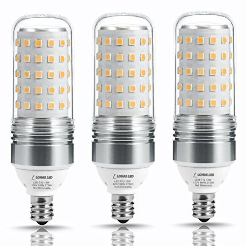 LOHAS Candelabra Bulbs, 100W LED Light Bulbs(12W Bulbs), LED Corn Bulb E12 Base, Warm White(2700K), 1100LM, Energy Saving Bulbs for Celling Fans Chandelier Lights, Non Dimmable(3 Pack)  HIGH BRIGHTNESS.This light bulb is high wattage.It is 12 watts and is equal to 100W incandescent bulb.The LED bulb is more bright fitted with high-bright LED chips and transparent PC shell.The LED light is up to 1100 lumens, effective conversion of light energy.360 degree beam angle,every corner can be ...