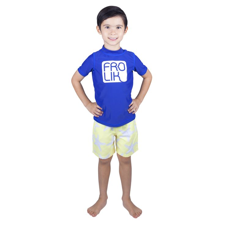 Frolik Rash Vest with Starfish Swim Shorts. Available at www.frolikbeachstyle.com in sizes 2-3, 4-5, 6-7 and 8-9yrs.