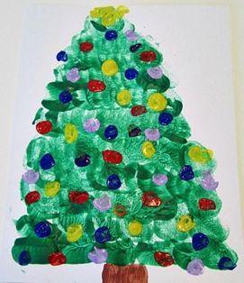 Kerst kleuters | Thema en Lesidee Juf Anke kerstboom stempelen/tamponeren met een kurk of kwast