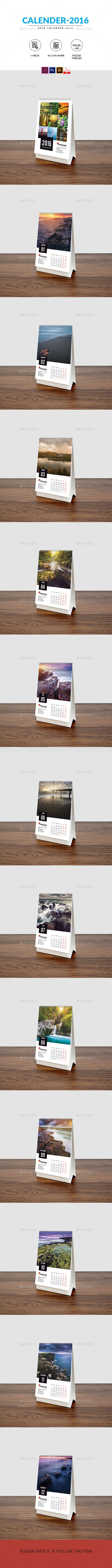 Desk Calendar 2016 Template #design Download: http://graphicriver.net/item/desk-calendar-2016/13502238?ref=ksioks