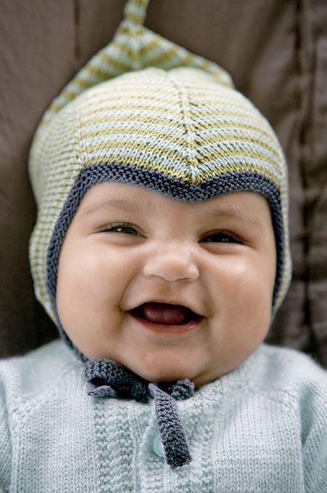Stribet djævlehue - Hendes Verden. 0-18 months. Free pattern here: http://www.hendesverden.dk/handarbejde/strik/Stribet-djavlehue-0508/