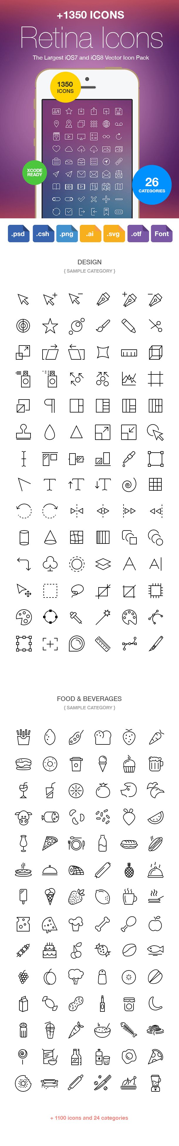 Retina Icons: 1350+ Vector Icons For iOS 8 & iOS 7 | StackSocial