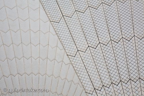 Abstract images of the tiled fan pattern on the roof Sydney Opera House, Australia © Quintin Lake
