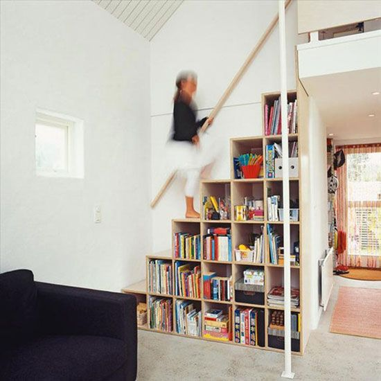 stairs in a kids room to a loft area.  But with more moldings and not so plain and contemporary.