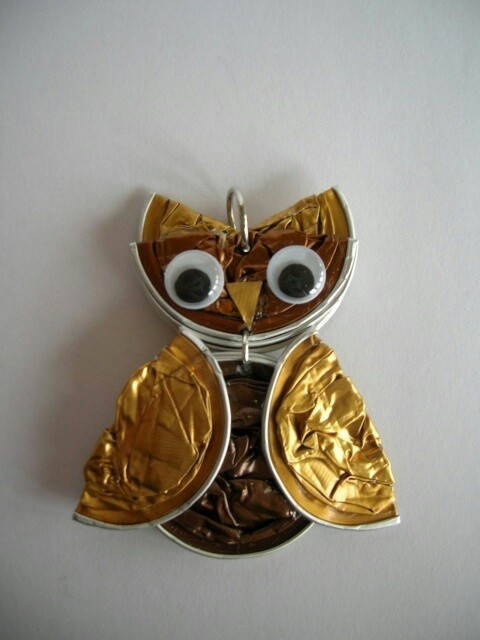 handcrafted pendant using upcycled nespresso cups ... owl  ... cleaver!