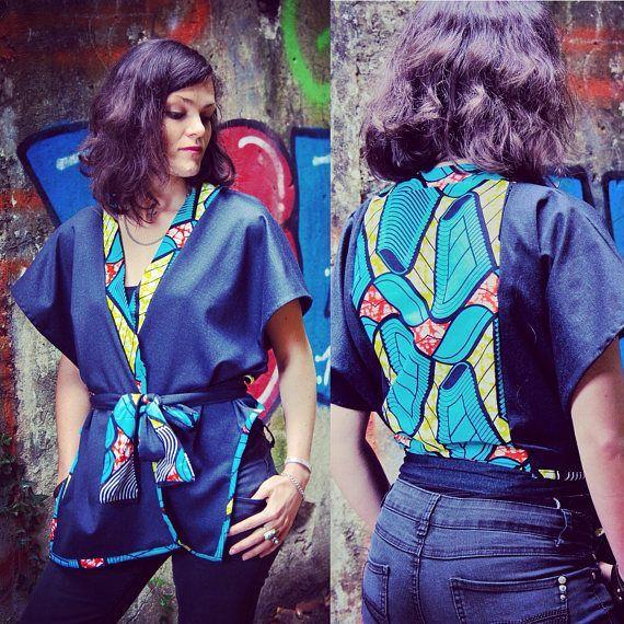 """Kimono Wax et jean brut """"Sanza"""", Asymétrique et ethnique, ceinture a nouer, streetwear et chic, gilet , haut, ethnic top, urban style, hiver"""