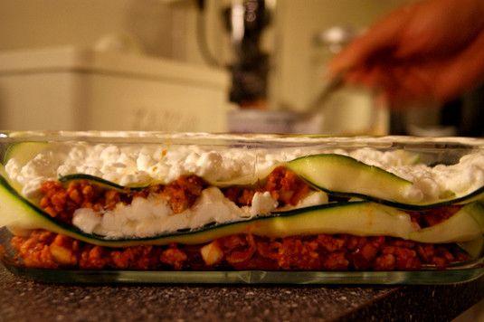 Lasagne med squash og cottage cheese