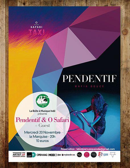 Affiche pour le concert organisé par la Boïte à Musique Indé à la Marquise Lyon, Pendentif + O Safari @Audrey Meisser
