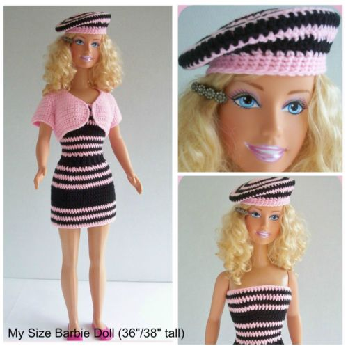 """Check out my blog!  marilynsmenagerie11.wordpress.com  Custom Doll Crochet Designs By Marilyn, love to design clothing for My Size Barbie Doll (36""""/38"""" tall), This outfit is a one-piece, slip-on dress and beret hat."""