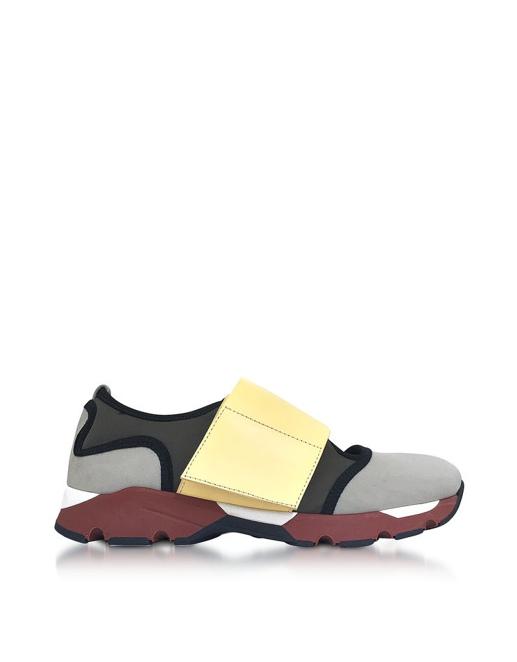 Fabric Sneakers crafted in mesh and neoprene, are a comfortable chic shoe that goes as easily with athleisure styles as it does flowy dresses with its updated mary-jane design. Featuring rounded toe, wide band hook and loop fastener on instep and contrast multi-color rubber sole. Signature box included.