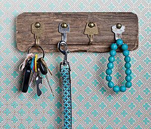 DIY Key Holders (or do it with old silverware in the kitchen for towels & pot holders)