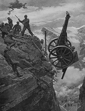 WW1, 1917. Italian artillery retreating in the face of an Austrian advance. Italian soldiers pitch their gun over a mountain precipice into the valley below. © Illustrated London News Ltd/Mary Evans Picture Library/ Yooniq Images.
