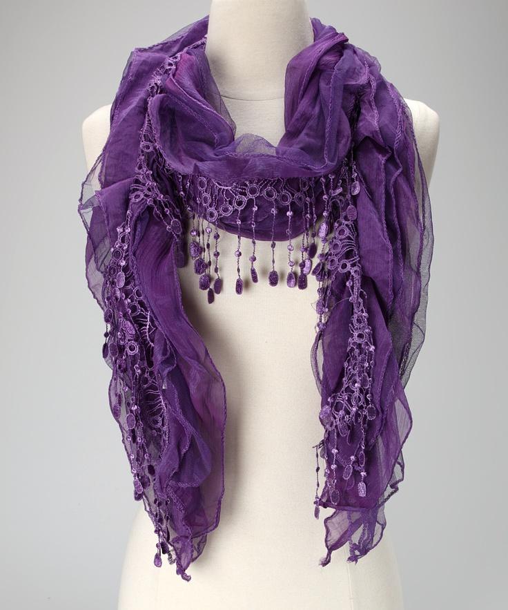 Purple Lace Chiffon Scarf