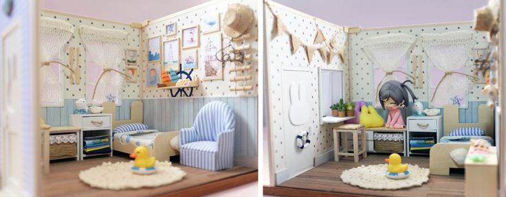 This is an handmade beach style bedroom made by me.  Suitable for Petite blythe doll/mini pullip/Little Dal/LPS Blythe/Little Pullip/nendoroid  The 3 sided walls are detachable for easily storage.  Material used: wall, base, furnitures - PVC board Flooring, furnitures - Wood Paint - Acrylic paint  Everything shown in the photo will be included in this sales and will provide uhu glue too.  Note: as this is an handmade product, do expect some imperfection areas, asymmet...