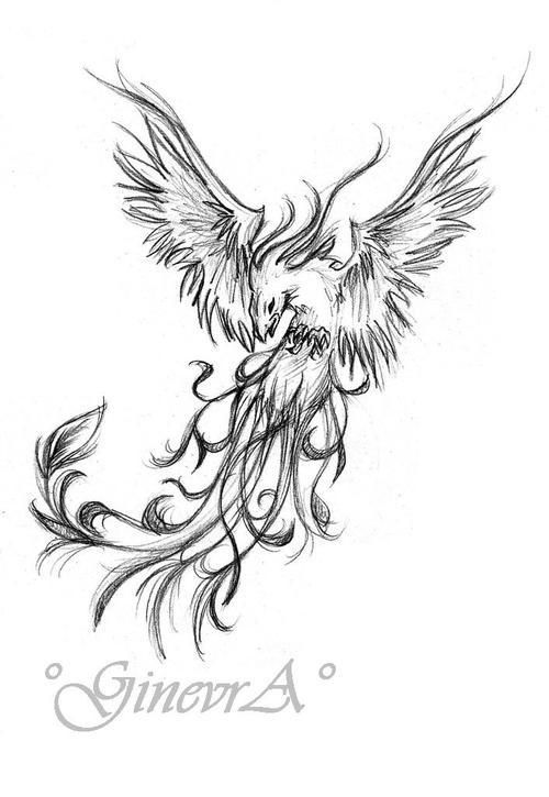 phoenix tattoo - blue, with blue-green flames moving over it, the wings are asymmetrical, the tip of the right one curls over his shoulder and ends in a single feather on his neck