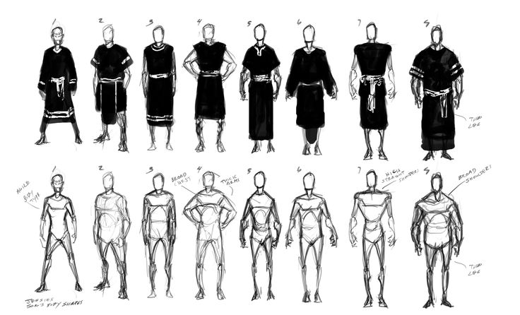 It all starts off with a concept artist working on possible body shapes:    tornadotwins.com