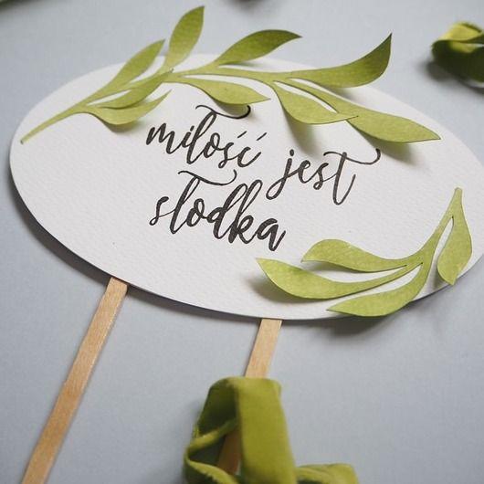 Ślub - dodatki-Topper na tort weselny Miłość jest słodka