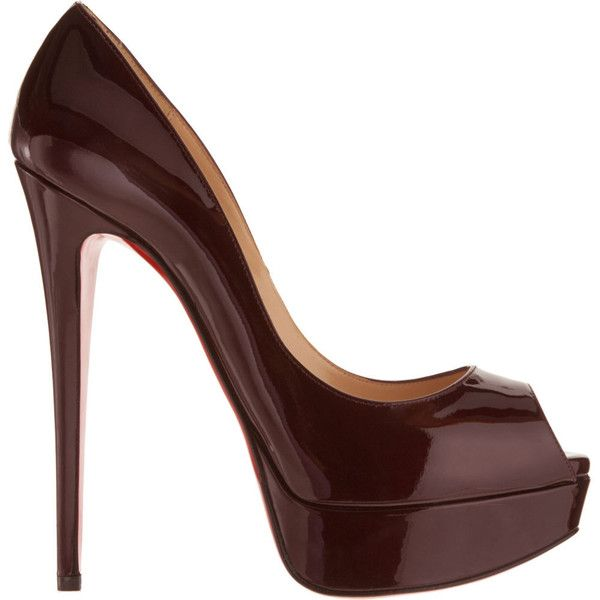 Christian Louboutin Lady Peep - Bordeaux size 6 ($359) ❤ liked on Polyvore featuring shoes, pumps, heels, sapatos, scarpe, zapatos, women, peeptoe pumps, high heel platform pumps and women shoes