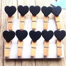10 unids/lote Moda Lindo color Negro diseño Regalo Especial de Madera Del Corazón Clip Mini Bolso Clip de Papel Clip de madera clavijas de Los Estudiantes DIY herramientas(China (Mainland))