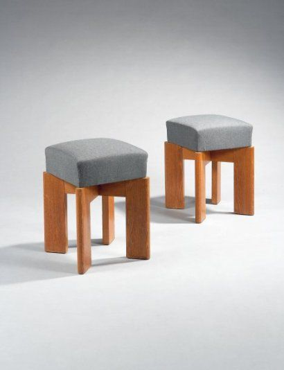 André Sornay; Pair of Stools, 1940s.