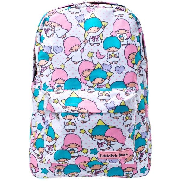 Loungefly Little Twin Stars Backpack ($36) ❤ liked on Polyvore featuring bags, backpacks, backpack, polka dot bag, sparkle backpack, print backpacks, polka dot backpack and blue bag