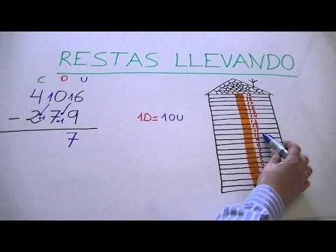 Como aprender a restar llevando o con llevada con números de 3 dígitos - YouTube