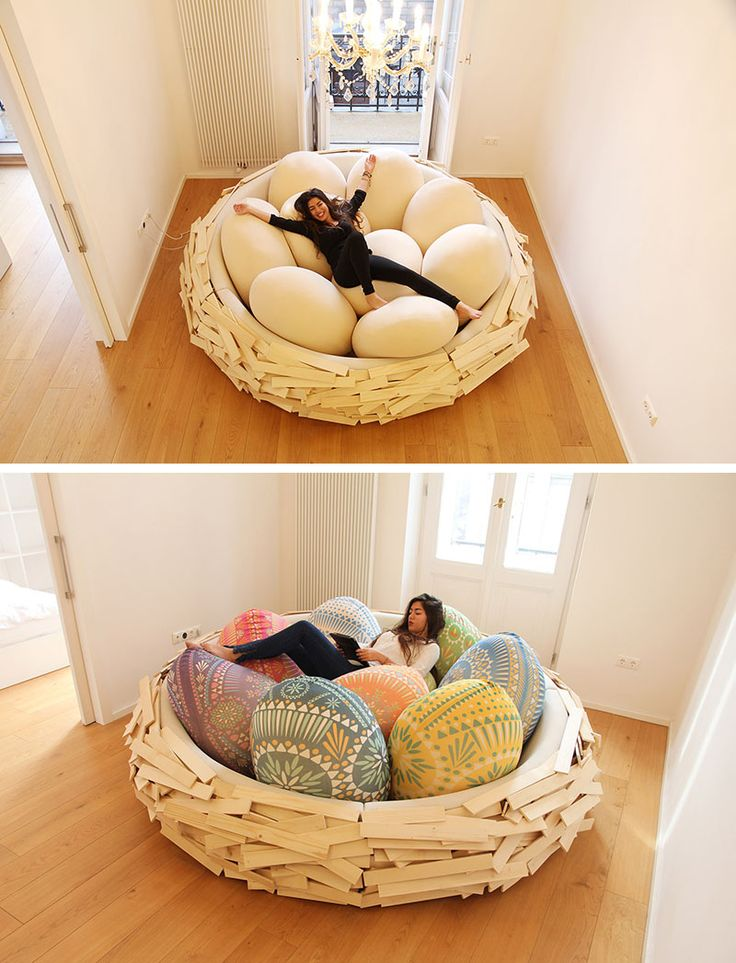 12 Comfy Chairs That Are Perfect For Relaxing In   12 Comfy Chairs Perfect For Relaxing In // Curl up among the eggs in this giant birds nest and settle in for a nice long lounge.