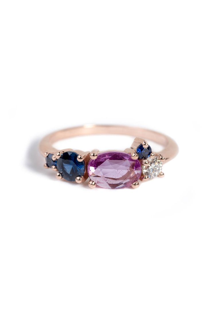 A personalized version of our Linear Diamond Ring with colored gemstones. http://bario-neal.com/jewelry/personalizations