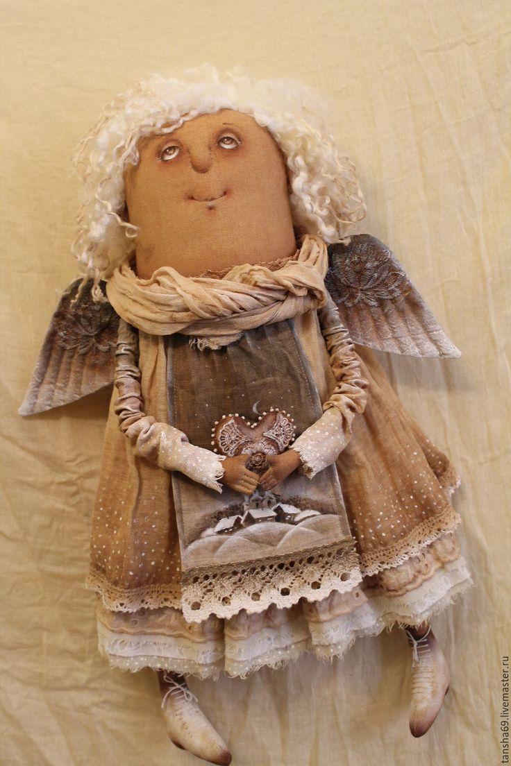 Купить Деревеньки-купола...Ангел - бежевый, текстильная кукла, ароматизированная кукла, интерьерная кукла, ангел