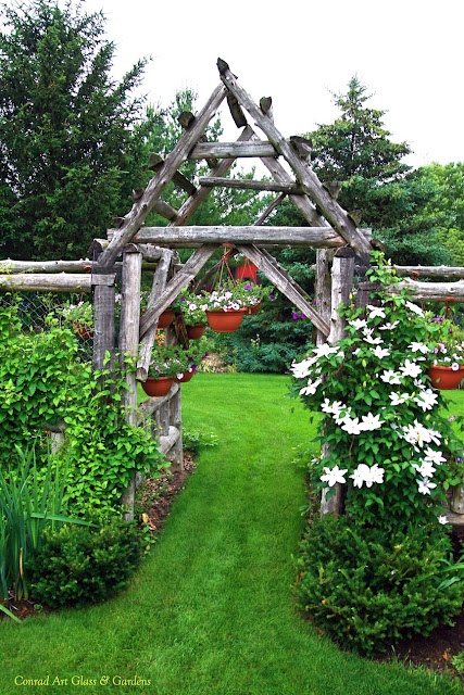 Lush green lawn rustic arbor and gorgeous clematis