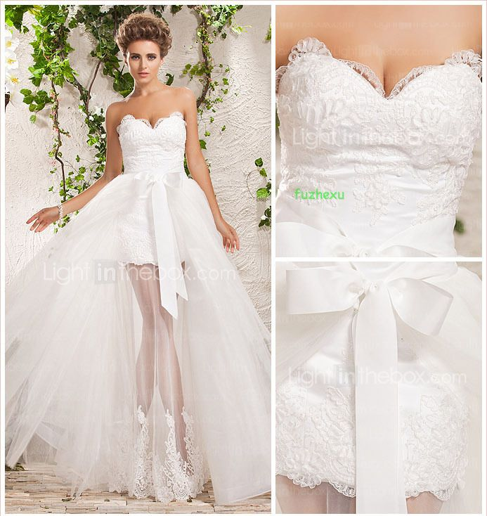 >> Click to Buy << free shipping 2016 Detachable trailing new style Short front long back white ivory sweetheart wedding dresses with long train #Affiliate