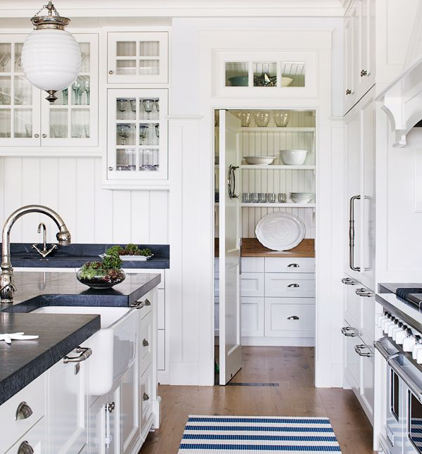 Gorgeous Seaside Kitchen With White Beadboard Kitchen