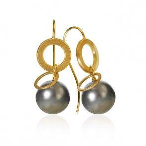 Anello pearl øreringe. Guld 18 K med Tahitiperler