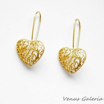 Silver earrings - Heart Gold