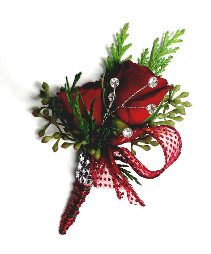 Red boutonniere by Krueger Floral Schofield