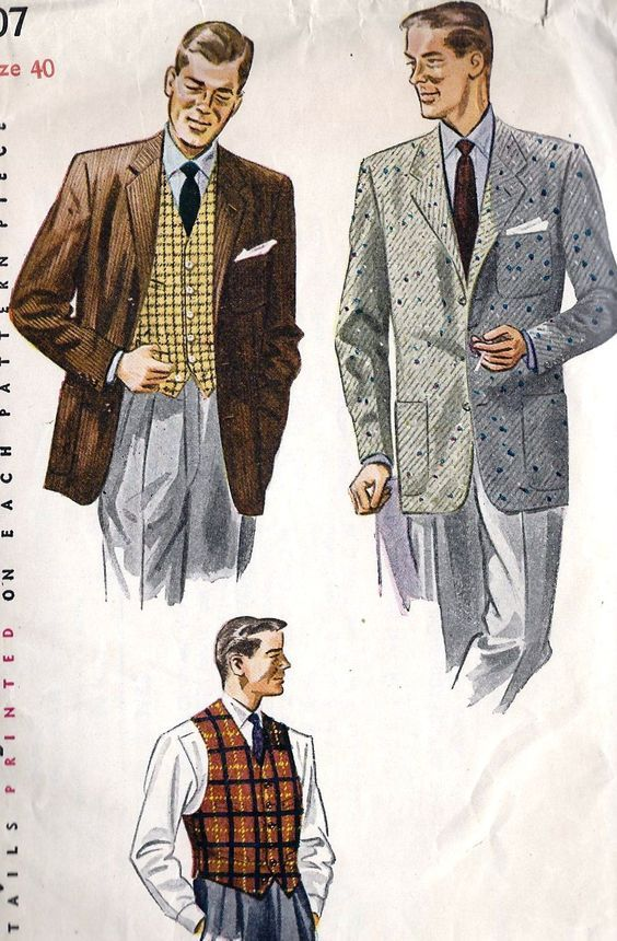 This is an example of 1950s mens suit with a three button loose tube jacket with medium to slim pants. The suit has no waist definition. (Denny P)
