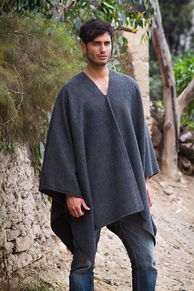 Men's alpaca blend poncho, 'Inca Explorer in Gray' - V-neck Poncho for Men Artisan Crafted in Peru