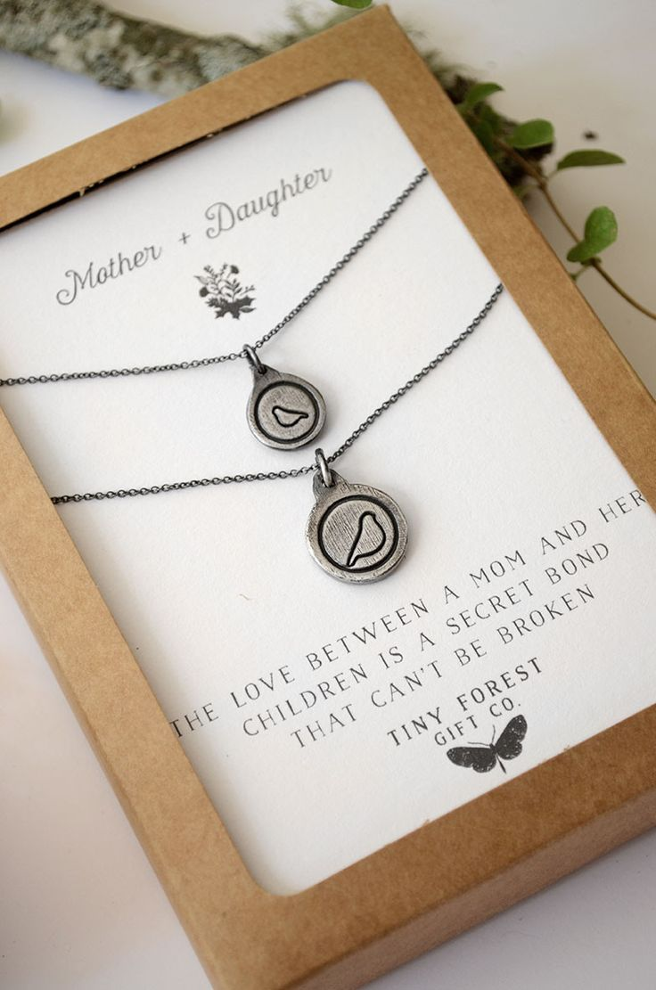 """Mother & Daughter Bird Charm Necklace """"The love between a mom & her children is a secret bond that can't be broken"""" Handmade Necklace Set