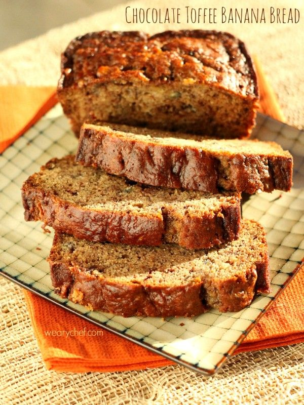 This Cinnamon Chocolate Banana Bread is loaded with buttery toffee pieces for a delicious breakfast or dessert treat!