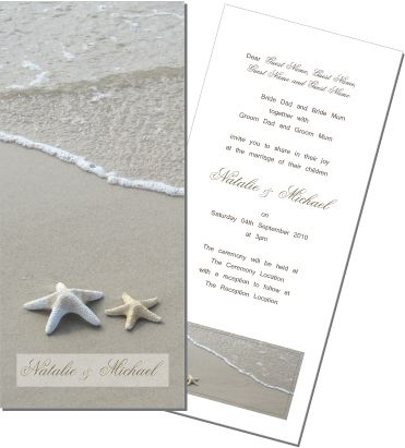 Add romance to your special day with this romantic beach wedding invitation. To order or view the collection go to: www.allyourinvites.com.au