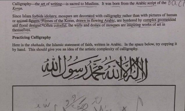 Ninth-graders at Riverheads High School were given an assignment Friday to copy the Islamic creed of shahada during a world geography class that focused on the Middle East.