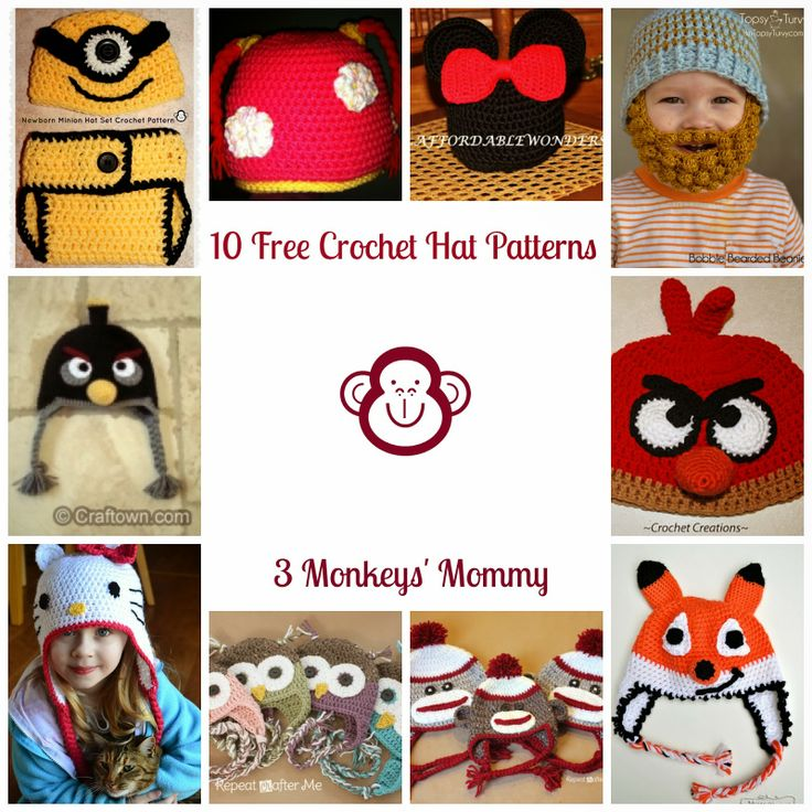 3 Monkeys' Mommy: 10 Free Character Crochet Hat Patterns {Perfect Pins}